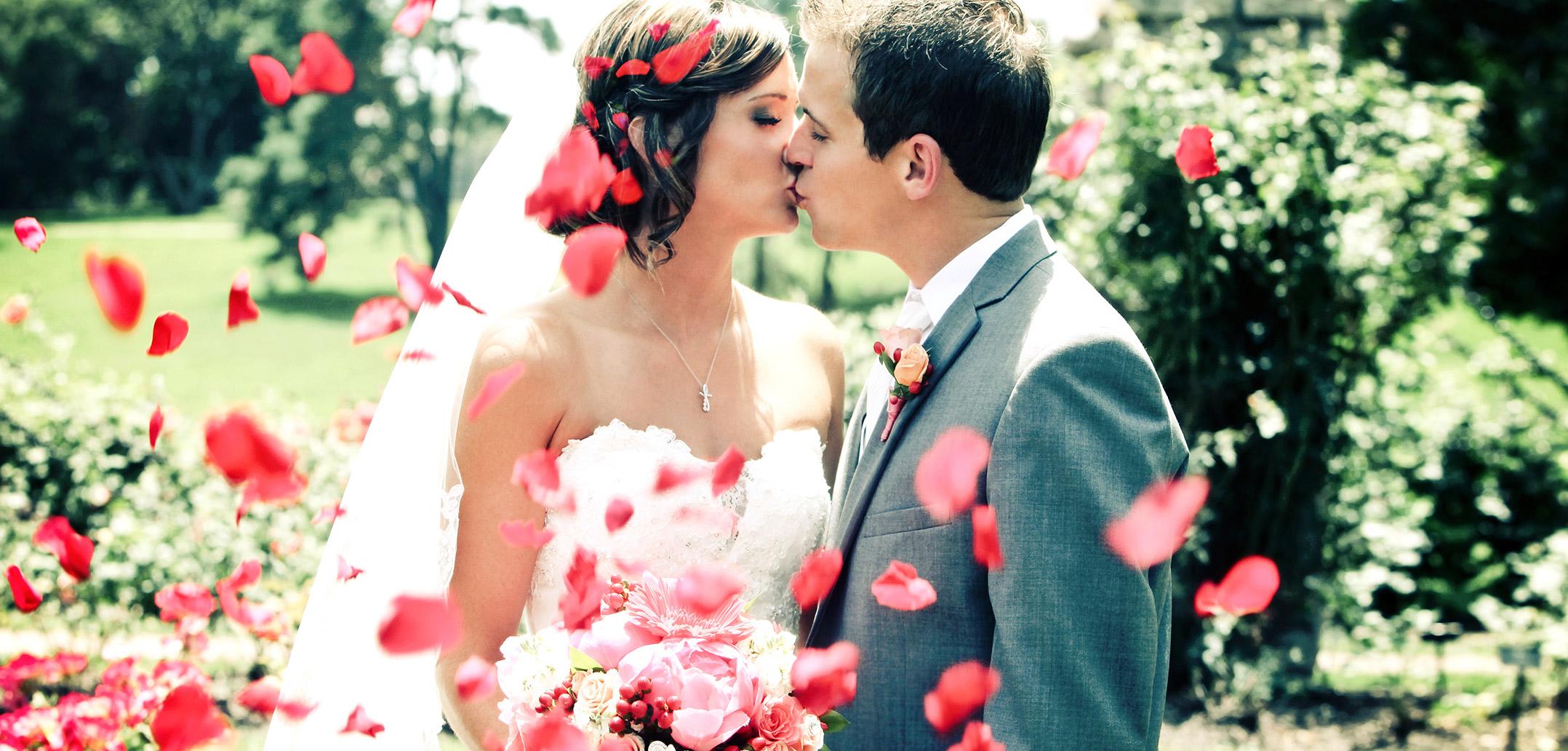 Hochzeit, Paar, Blumen